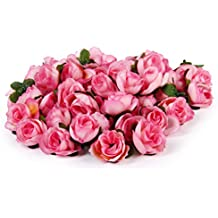 50pcs 3cm Artificiales Cabezas de Flores Rosas de Tela para La Boda Fiesta (Rosa)