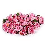 50 Stk. 3cm künstliche Seide Rosen Köpfe Hochzeit Blumendekoration (Rosa)