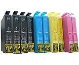 10 komp. XL Druckerpatronen für Epson WorkForce WF 2660DWF 2650DWF 2630WF 2540WF 2530WF 2520NF 2510WF 2010W Epson T1621 T1622 T1623 T1624 T1626 16XL für 4 x schwarz 2 x blau 2 x rot 2 x gelb