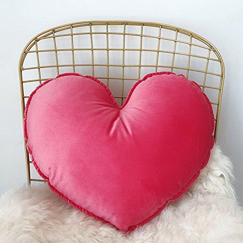 JWKZ Nordic Herz Samt Mädchen Liebe Herz Sterne Kissen, Auto Hüftkissen, Sofakissen, Hochzeitsgeschenk, Demontieren und waschen Sie den Kern, Pfirsich rot (Herz-liebe-marmor Rote)