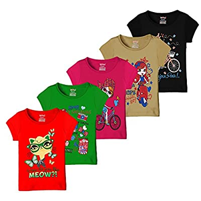 Kiddeo Girls T shirts (Pack of 5)