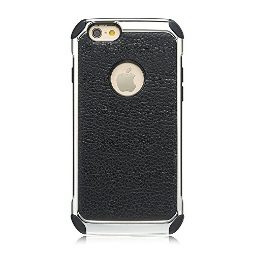 iPhone 6 Plus / 6s Plus Hülle, Alfort 2 in 1 Handyhülle Schutzhülle Hart Acryl + TPU + PU Leder Plattierung Litchi Case Cover Telefon Kasten Vollschutz Fashion Design Dual Use für Apple iPhone 6 Plus  Schwarz