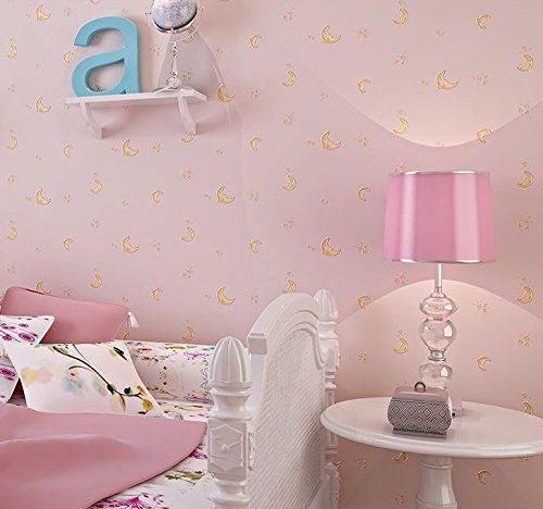 *Mond und die Sterne Vliesfasertapete Powder Blue Light Jungen und Mädchen gelb Schlafzimmer Tapete Kinder Zimmer Tapete 0,53m (52,8cm) * 10Mio. (32,8') M = 5.3sqm (M³), Only the wallpaper, Pale pink*