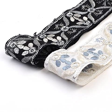 Neotrims Indian Style Floral Embroidery Trimming Ribbon on Chiffon Organza Fabric base; Mono Chrome Black or Ivory Version,Subtle Silver Metallic Threads & Sequins Embellished. Bridal Wedding and Cocktail style Salwar Kameez Sari Border Two Gorgeous colour Combos; Black & Off White. Goregous! - Jet Black - 1 Meter
