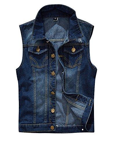 Herren Einfache Beiläufige Jeans Weste Slim Fit Ärmellose Cowboy Weste Zerrissene Jeansweste Dunkelblau XL
