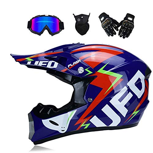 Adulto Motocross off Road Helmet DOT Dirt Bike Moto ATV AM Mountain Bike Casco Integrale MX Casco Integrale Offroad/Goggles/Mask/Guanti (Youth S 52-53cm-XL 58-59cm, Style 6),UFO,XL