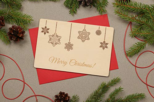 istiWood Weihnachtskarte Holzkarte Holzgruß Karten Schneeflocke Karte Happy Holiday Merry Christmas Karten Geschenk Einzigartige Weihnachtskarten Ornament