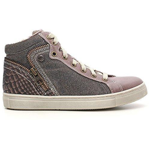 Nero Giardini Junior a531091F, Mädchen Sneaker aus Leder und Stoff Glitter Brandon Taupe