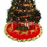Weihnachtsdeko Deco Weihnachtsbaumdecke Weihnachtsbaum Rock Runde Filz-Baumdecke - Schutz vor Tannennadeln - Tannenbaum Unterlage mit Weihnachtsmotiv 90cm