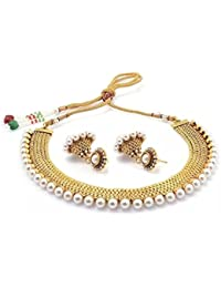 Royal Bling Gold Plated Traditional Temple Coin Necklace With Earrings Set For Women & Girls