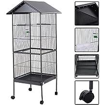 XXL Vogelvoliere, CRAVOG Hoch Metall Quadratisch Vogelkäfig mit Vier Sitzstange für Papagei und Vogel, Schwarz 52 x 52 x 157 (L x B x H) (mit Dach)