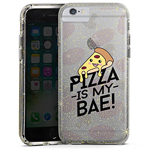 Apple iPhone X Bumper Hülle Bumper Case Glitzer Hülle Transparent mit Motiv Pizza Is My Bae Food Bumper Case Glitzer gold