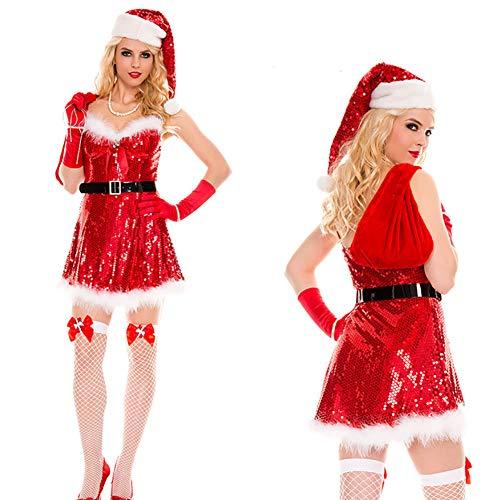 CWZJ Ladies Pailletten Santa Dress Up Sexy Kleid Pailletten WEIHNACHTSKOSTÜME Machen Sie Blendend, Einschließlich Kleid + Hut + Handschuhe + Gürtel + Geschenktasche (Machen Sie Hut Eine Halloween-hexe)