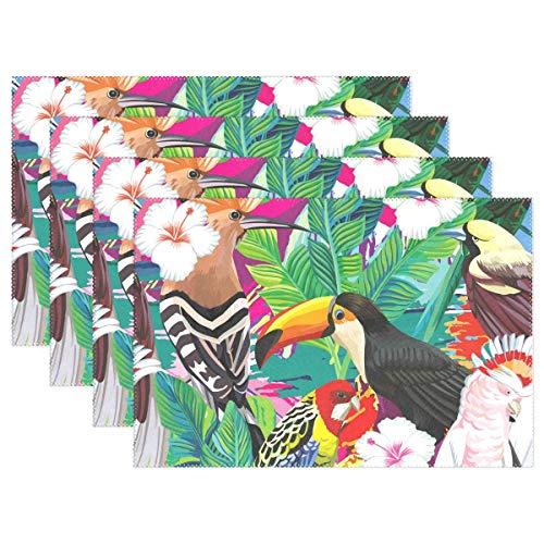 Promini Tischsets mit tropischen Vögeln und Blumen, Vintage-Blumen-Design, rutschfest, waschbar, hitzebeständig, Platzmatten für Küche, Esszimmer, Deko, Tablett Set, 4 Stück -