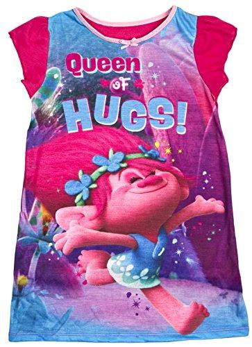 Girls-Trolls-Nightdress-Princess-Poppy-Nighty-Character-Pyjamas-Nightie-Size-UK-2-8-Years
