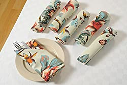 Swayam Libra Printed 6 Piece Cotton Dinner Napkins - Peach