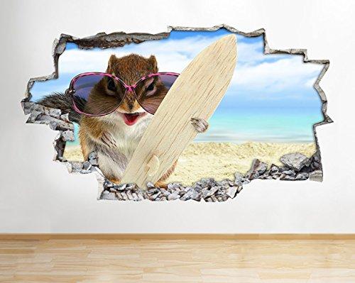 tekkdesigns B031Hamster Funny Animal Pet Surfen Strand Wand Aufkleber 3D Poster Kunst Aufkleber Kinder Schlafzimmer Kinderzimmer Baby Cool Wohnzimmer Hall Jungen Mädchen (groß (90x 52cm)) (Surfen Schlafzimmer)