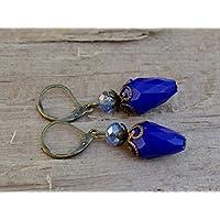Vintage Tropfen Ohrringe mit Glasperlen - blau, royalblau opak & bronze