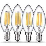 Luohaoshi 4 X Dimmbar 6W Kerzenlampe e14 LED, C35 LED Kerzenform Filament, Ersatz 60W Glühlampe, Warmweiß (2700K), 600lm