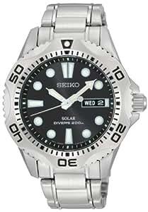 Seiko Herren-Armbanduhr XL Diver's Solar Analog Quarz Edelstahl SNE107P1