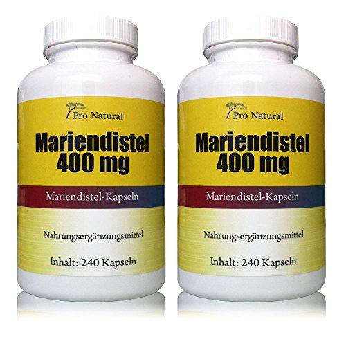 Mariendistel Extrakt 400mg (Pro Kapsel 80% Silymarin 320mg) (Silymarin) 480 Kapseln 2 Packungen a 240 Kapseln