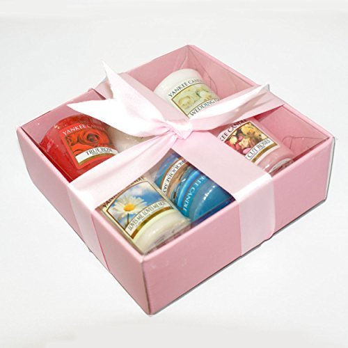 Yankee Candle Luxury 6 Sampler Votive Pack - Gift Wrapped in Pink Box, Pink Tissue & Cuban Satin Ribbon - Perfect For Anniversary, Valentines Day, Birthday, Christmas & Mothers Day