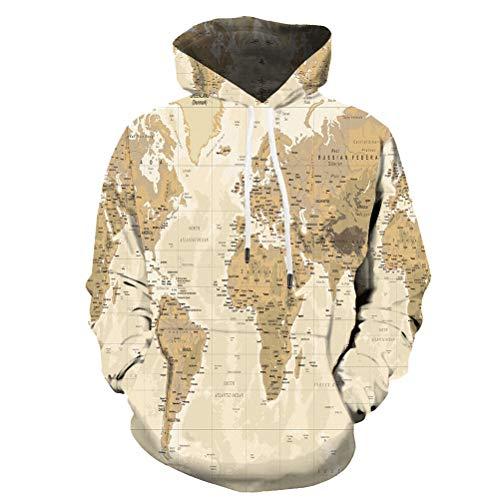 Morbuy Kapuzenpullover Unisex Herren 3D Druck Hoodie Kreativ Karte Damen Pullover Sweatshirt Herbst und Winter Mode Langarm Paare Hoodies (XL, Gelb)