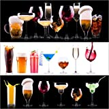 POSTERLOUNGE Wood print 120 x 120 cm: drinks - beer, wine, cocktail, juice, champagne, scotch, soda by Editors Choice