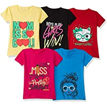 T2F Girl's Regular fit Chest Printed Cotton T-Shirt (Pack of 5)