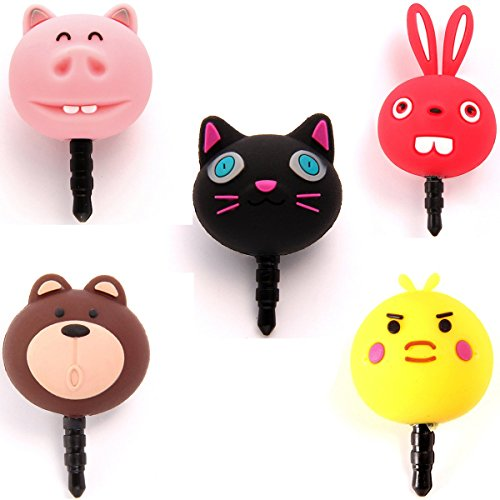 Aroncent Anti Staub Plug Stopper/Ear Cap/Handy Charms für iPhone Samsung HTC, Süßes Cartoon Silikon Hähnchen Anti Dust Plug Earphone Jack