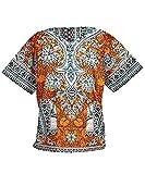 Lofbaz Unisex Dashiki - Traditionelles Oberteil mit afrikanischem Druck M Ethnic Orange