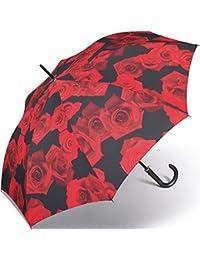 Happy Rain Long AC Apertura Automático Paragua 87 cm red rose