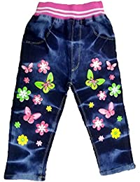 Miss U Baby Girls Denim Fabric Slim Fit Printed Jeans (Blue, 18-24 c524630073