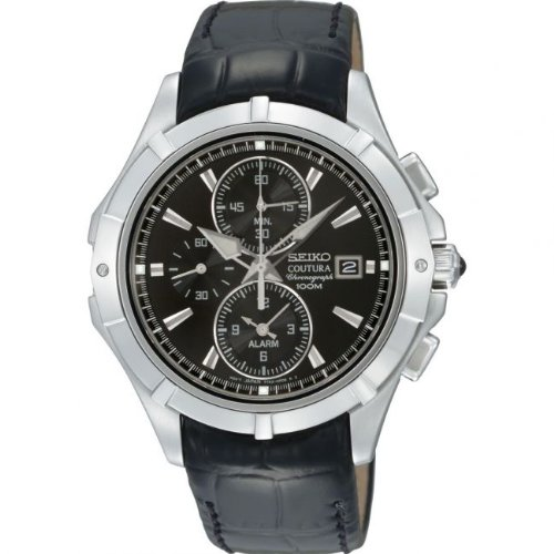 Seiko Men's Quartz Watch with Black Dial Analogue Display and Black Leather Strap SNAE73P2