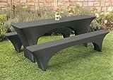 Brandsseller Hussen Set 3-teilig für Bierzeltgarnituren (1x Tisch ca. 220 x 50x 75 cm, 2X Bank ca. 220 x 25x 46 cm) in der Farbe Schwarz