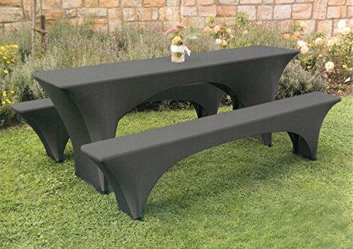 Brandsseller, set da 3pezzi di coperture per tavolo e panche da birreria (1per il tavolo, 2per le panche) in diversi colori, microfibra, nero , 220 x 50 x 75 cm