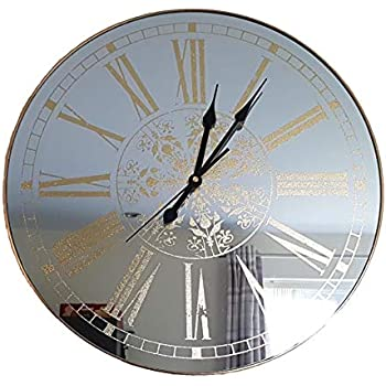 Large Glass Mirror Effect Wall Clock London Clock