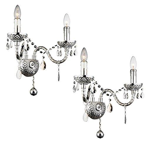2er Set Wand Lampen Kronleuchter Kristall Luster Chrom Leuchten Lüster Strahler Behang - Kristall-wand-lampe