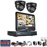 [1280*720P HD] SANNCE® Kit de 4 Cámaras de Vigilancia Seguridad (Onvif H.264 CCTV DVR P2P 4CH AHD 720P y 4 Cámaras 720P 1MP IP66 Impermeable, IR-Cut, Visión Nocturna Hasta 20M, Exterior y Interior, HDMI, 24 LEDs Seguridad Kit) - NO Disco Duro (4+2(NO HDD))