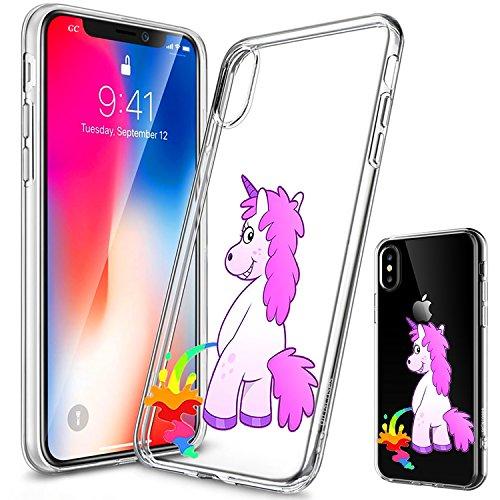Girlscases Hülle kompatibel für das Apple iPhone XS, iPhone X / 10 | Einhorn Macht Regenbogen-PIPI | Transparente Schutzhülle mit Einhorn Regenbogen Unicorn Motiv | Aus TPU Silikon