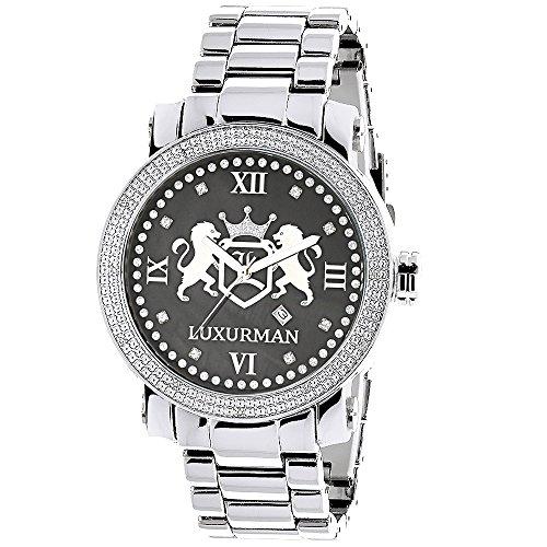 Designer Large Watches: LUXURMAN Phantom Real Diamond Watch for Men 0.12ct Black MOP Metal Band + Leather Straps