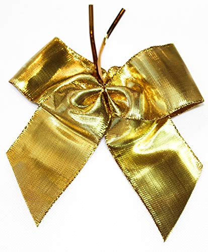 CaPiSo Lot de 12 nœuds Lurex 14 x 16 cm avec Clip de Fixation Extra Long 8 cm Ruban Cadeau Noeud Noël : Feuille dorée