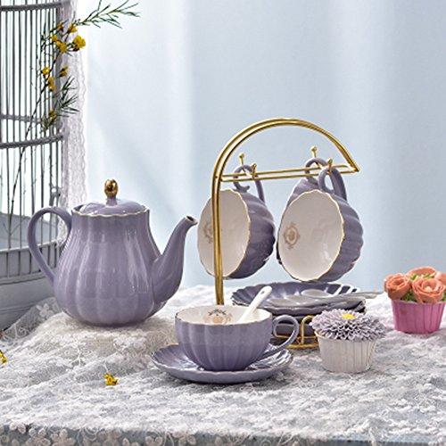 Coupe de café en céramique 6 sets / Coupe d'après-midi / 1 pot 4 Coupe 4 disques (4 couleurs en option) ( couleur : D )