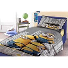 "Minions ""Le Buddies"" - Ropa de cama (funda nórdica de 140 x 200 cm, funda de almohada de 70 x 90 cm)"