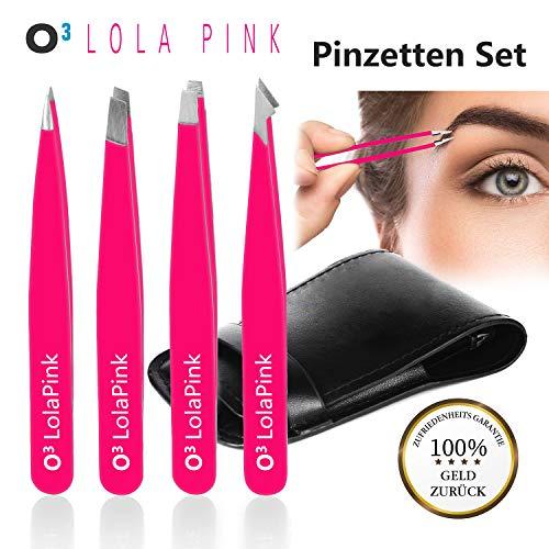 O³ LolaPink Pinzette Augenbrauen zupfen // Profi Set aus 4 verschiedenen Pinzetten im Kosmetiketui // Augenbrauenpinzette Geschenkset