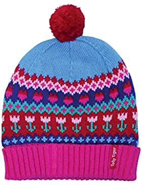 Toby Tiger - 100% Cotton Outer Super Cosy Fleece Lined Tulip Knitted Hat., Cappellopello Bambina