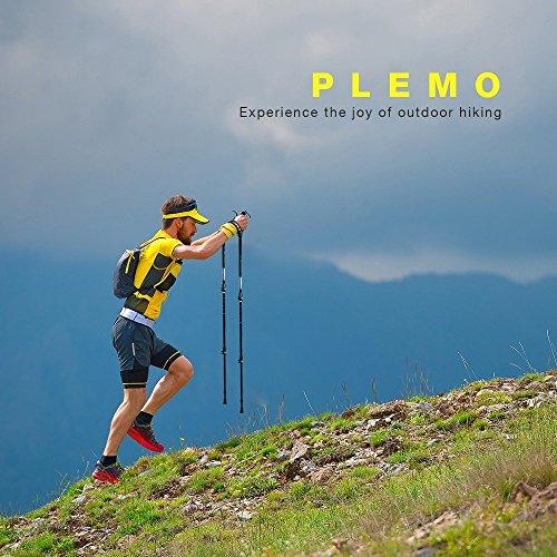 PLEMO Bastones de Senderismo Antishock 2 Unidades Extendía de 68 a 135 cm  Bastón de Trekking Plegables Telescópicos para Montañismo  Caminatas  Excursiones con Mochila y con Raquetas de Nieve  para Camino de Santiago