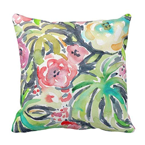 Tropicalia Watercolor Floral Decorative Pillow Case Whimsical Home Decor Square 18 x 18 Inch/45cm x 45cm -