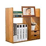 Bücherregal Ausziehbarer Schreibtisch mit 2 Schubladen Verstellbarer Schreibtisch Bücherregal Erweiterbarer Schreibtischständer für Büro ( Farbe : Natural , Größe : Double drawer 70cm wide )