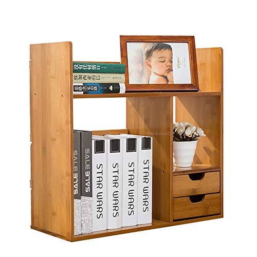 Librerie Scaffale da scrivania allungabile con 2 cassetti Scaffale da scrivania espandibile con scrivania regolabile Home Office Librerie ( Colore : Natural , Dimensione : Double drawer 70cm wide )